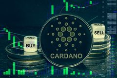 Coin cryptocurrency ada cardano stack of coins and dice. Exchange chart to buy, sell, hold. The coin cryptocurrency cardano ada stack of coins and dice royalty free illustration