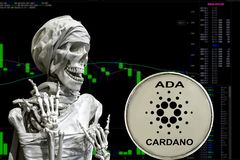 Coin cryptocurrency ADA and skeletonon a background chart. vector illustration