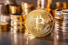 Coin of the Cryptocurrency Bitcoin Stock Photos