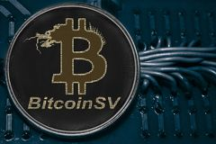 Coin cryptocurrency Bitcoin SV on the background of wires and circuits. BSV royalty free stock photo