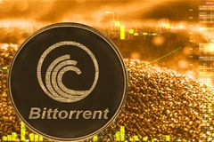 Coin cryptocurrency bittorrent btt on golden chart. Coin cryptocurrency bittorrent btt and gold finance chart stock illustration