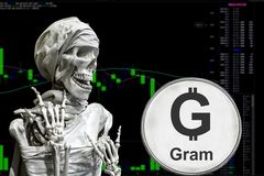 Coin cryptocurrency TON and skeletonon a background chart. stock images