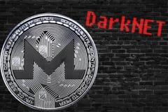Coin cryptocurrency Monero XMR and black bricks wall Darknet. vector illustration