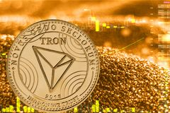Coin cryptocurrency tron trx on golden chart. Coin cryptocurrency trx tron and gold finance chart stock illustration