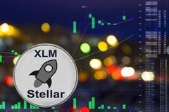 Coin cryptocurrency XLM on night city background and chart. Coin cryptocurrency Stellar on night city background and chart royalty free illustration