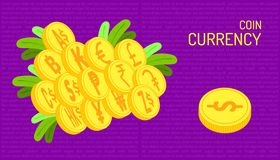The coin currency. beautiful color purple background.  illustration eps10. The coin currency. beautiful color purple background royalty free illustration