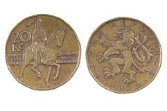 Coin of the Czech Republic.20 CZK. On white background Stock Image