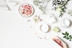 Coin dénommé de beauté, bannière de Web Crème de peau, bouteille de tonicum, fleurs sèches, feuilles, rose et sel de l'Himalaya T photographie stock libre de droits