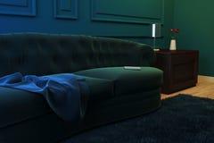 Coin d'illustration du salon avec un sofa, une margelle et des fleurs illustration de vecteur