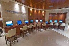 Coin d'Internet dans l'hôtel Images libres de droits
