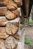 Coin d'une carlingue en bois Photographie stock