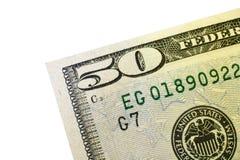 Coin de billet de cinquante dollars Images stock