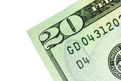 Coin de billet de vingt dollars Image stock