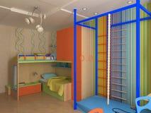 Coin de chambre à coucher du `s d'enfant avec les meubles colorés Photo stock