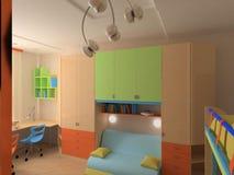 Coin de chambre à coucher du `s d'enfant avec les meubles colorés photo libre de droits