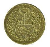 coin de oro秘鲁revers sol联合国 免版税库存图片