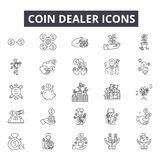 Coin dealer line icons, signs, vector set, outline illustration concept. Coin dealer line icons, signs, vector set, outline concept illustration vector illustration