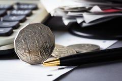 Coin on desk Royalty Free Stock Photos