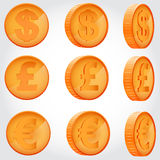 Coin in different angles. Coin of dollar, euro and pound sterling in different angles Stock Photo