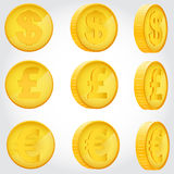 Coin in different angles Royalty Free Stock Photography