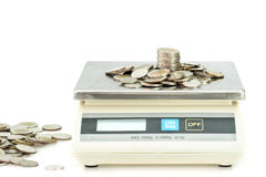 Coin on digital scale Stock Photo
