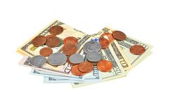 Coin and dollar banknote Stock Photo