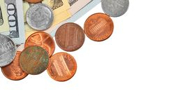 Coin and dollar banknote Royalty Free Stock Images