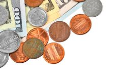 Coin and dollar banknote Stock Photography