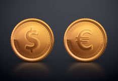 Coin Dollar and Euro Stock Photo
