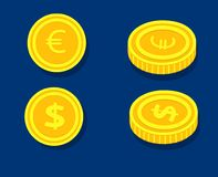 Coin dollar and euro in two angles. Coin dollar and euro in two foreshortenings on a blue background with shadows Stock Photography