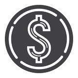 Coin dollar glyph icon, business and finance Stock Photography