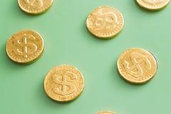 Coin dollar on a green background. Financial concept royalty free stock photos