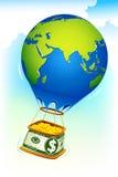 Coin in Dollar hot air balloon. Illustration of dollar hot air balloon full of gold coin Stock Photos