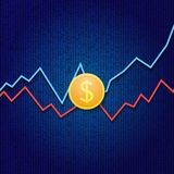 Coin dollar and profit growth graphs on a digital background. Vector illustration Stock Photography