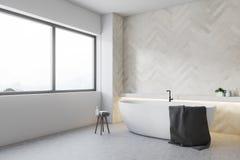 Coin en bois blanc de salle de bains, baquet rond illustration libre de droits