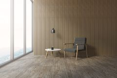 Coin en bois de salon de grenier, fauteuil gris illustration libre de droits