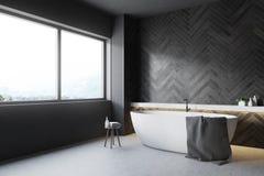 Coin en bois noir de salle de bains, baquet rond illustration libre de droits