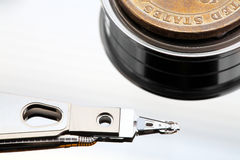 Coin end  hard disk drive Stock Image