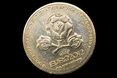 "Coin for EURO 2012, Ukraine. Coin ""1 grivnya"" issued by National Bank of Ukraine to UEFA EURO 2012 Stock Image"
