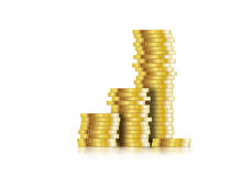 Coin. Euro coins stacked  illustration Royalty Free Stock Image