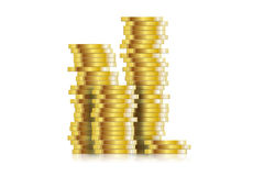 Coin. Euro coins stacked  illustration Royalty Free Stock Images