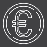 Coin euro line icon, business and finance, money. Sign vector graphics, a linear pattern on a black background, eps 10 Stock Image