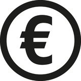 Coin with euro sign. Vector Stock Images