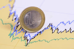 Coin of european currency laying in chart of exchange market Royalty Free Stock Images