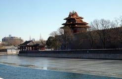 Coin externe de fossé du Cité interdite, Pékin photos stock