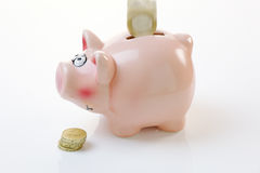 Coin Falling into a Piggy Bank Stock Images