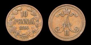 Coin of Finland in time of Russian Emperor Alexand Stock Photo