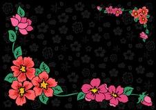 Coin floral abstrait avec le fond foncé Illustration Libre de Droits