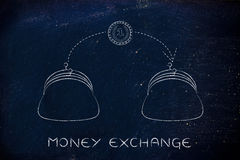 Coin flying from one purse to another, money exchange Stock Images