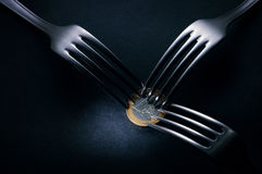Coin forks Royalty Free Stock Images